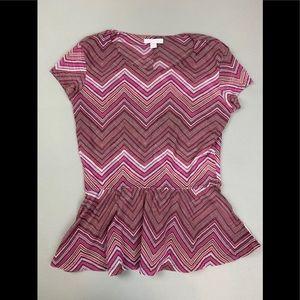 New York &Company sheer chevron shirt